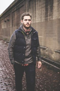 Plaid OCBD, shawl collar sweater, navy puffer vest, and dark denim.