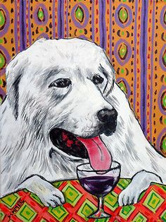 GREAT PYRENEes at the wine bar picture art print gift dog 13x19 giclee