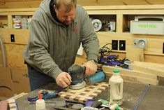 Basket Weave Cutting Board Sanding