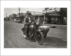 This photograph was taken in the town of Wonthaggi, Gippsland, Victoria, Australia. The motorcycle is a BSA and sidecar. https://www.flickr.com/photos/69559277@N04/6327141821/