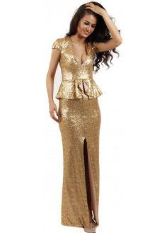 peplum dress gold