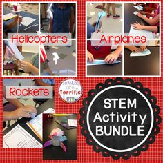 A Money-Saving Bundle of Three STEM Activities- all about flight! Students test variables of airplanes, helicopters, and rockets and then design the ultimate models! Great fun!