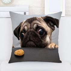 Animais Engraçados Animais Pug Personalizado Durável Macio Casa Decorativo Capa de Almofada Com Zíper Dois Lados Impressão em Capas de almofadas de Home & Garden no AliExpress.com | Alibaba Group