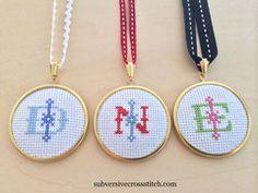 Subversive Kits   Subversive Cross Stitch vintage monogram pendant kits!