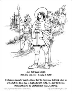 September Worksheets and Coloring Pages: Juan Rodriguez Cabrillo Coloring Page