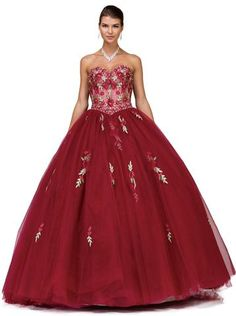 7fc7b97be6 Dancing Queen - 1178 Strapless Floral Embellished Quinceanera Ballgown