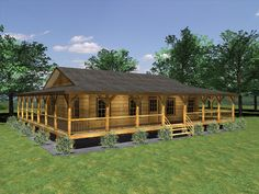 log cabins with side porches | Patterson Log Cabin Rendering