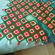 Handmade Crochet Christmas Granny Square Tree Skirt Red, Green, And White Tassle  | eBay
