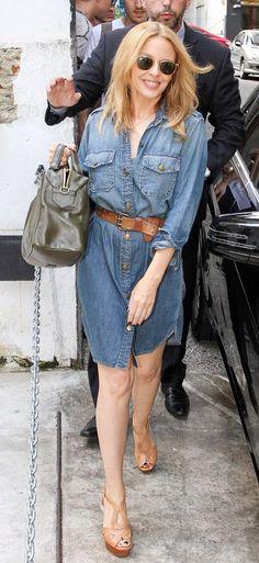 Kylie Minogue in a Denim Dress