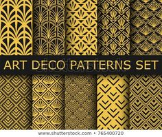 Collection of art-deco ornamental seamless patterns. Set of ten geometric backgrounds. Motif Art Deco, Art Deco Pattern, 3d Background, Geometric Background, Pattern Images, Unique Business Cards, Illustrations, Art Deco Fashion, New Pictures