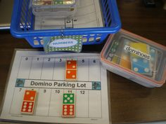 Domino Parking Lot idea  Mrs. Bremer's Kindergarten: Math Work Stations: Get them for free! Amazing blog with TONS of printable activities!!!