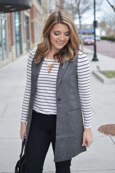 long vest outfit - long sleeve striped tee with a long gray vest. Want more cute casual outfits? Head to bylaurenm.com!