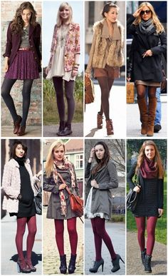 Tights for winter looks Tights Outfit Winter, Colored Tights Outfit, Outfits With Tights, Dress With Tights, Winter Fashion Outfits, Fall Winter Outfits, Autumn Fashion, Dresses In Winter, Mode Outfits