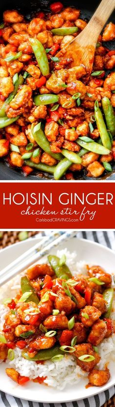 Hoisin Ginger Chicken Stir Fry - my family went crazy over this chicken and gobbled it up in minutes!  So many layers of flavor - definitely some of the best fakeout takeout I've ever tried!  Definitely a keeper!  via /carlsbadcraving/ #chinesefoodrecipes