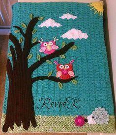 Ravelry: Spring has Sprung Owl Blanket crochet pattern by Revee Kraszewski