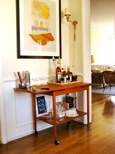 The classic wood bar cart — SO sweet!