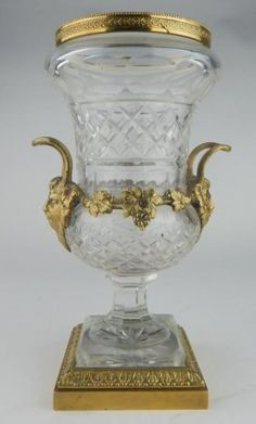 Dore Bronze and Cut Glass Vase : Lot 877
