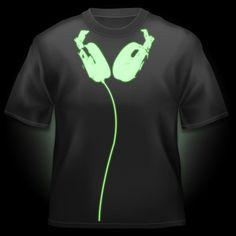 Glow in the Dark Headphones T-Shirt The Glow Company, Glow Bracelets, Disco Lights, Glow Party, Glow Sticks, Team Shirts, Fairy Lights, Fancy Dress, Diesel