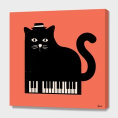 """""""Cool Cat on Piano"""", Numbered Edition Canvas Print by Budi Kwan - From $69.00 - Curioos"""