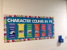 Character counts pe bulletin board school social work picture to pin on pin Character Bulletin Boards, Elementary Bulletin Boards, Classroom Bulletin Boards, Health Bulletin Boards, Classroom Decor, Elementary Physical Education, Elementary Pe, Health And Physical Education, Pillars Of Character