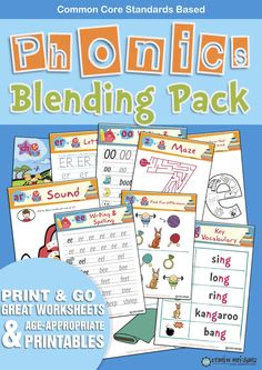 This wonderful and beautifully designed Phonics workbook combines 184 fun filled pages of quality phonics worksheets. Can be used in association of other products such as Jolly Phonics... We have used the most commonly used sounds first in the Phonics Starters Pack. Our Phonics Blending Pack introduces the idea of blending sounds...  Letter Sounds: ie, ee, or, z, w, ng, v, oo, oo, ng, y, x, ch, sh, th, ou, oi, ue, er, ar.  Each sound has 4 to 5 vocabulary examples.