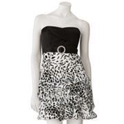 City Triangles Leopard Pick Up-Style Strapless Dress