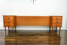 Mid Century Modern QS Bedside Tables Drawers Bedhead Retro Vintage Danish Parker