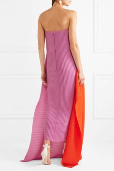 Solace London - Alette Strapless Color-block Plissé-chiffon Gown - Lilac