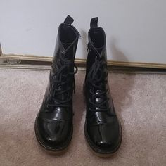 80's/90's combat boots 80's/90's grunge inspired boots. Good condition with a glossy external material. Synthetic. lady godiva   Shoes Combat & Moto Boots