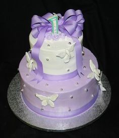 Lavender First Birthday Cake by ABC Cake Shop & Bakery (abccakeshop.com) - Have to Make this one Sometime!!