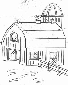 Farm scenes coloring page | Farm Life - Farm barn and silo ...