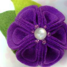 Felt Flower Brooch with folded petals