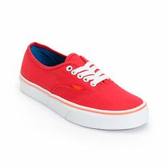 Keep your look classic with the style of the Vans Authentic shoe for girls in the Lollipop Red colorway. With a durable canvas upper and a vulcanized outsole with the classic Vans Waffle tread, these timeless Authentic shoes from Vans are a sure way to add style to just about any outfit. The sizes shown are in women's.Find your Vans shoe size. Check out all   Red Vans here.