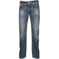 True Religion Men's Logan Super T Medium Drifter Blue Denim Jeans ($450) ❤ liked on Polyvore