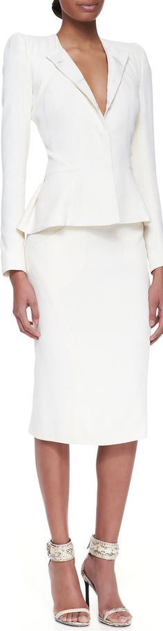Zac Posen Fitted Modified-Peplum Blazer and Pleat-Back Pencil Skirt
