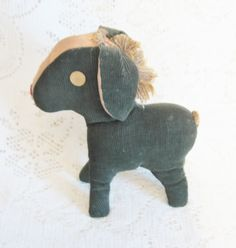 Early Green Corduroy Toy Pony Cotton Stuffed ~ SOLD