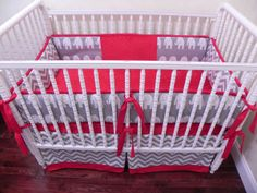 Baby Bedding Crib Set Dylan - Gray Chevron and Elephants Red : Just Baby Designs, Custom Baby Bedding Custom Crib Bedding Custom Nursery Bedding