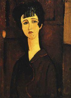 VICTORIA Le cheveu sombre, le regard fier, elle se détache sur le fond Economie de couleurs mais parfaite reconnaissance de son modèle. Jean Cocteau : « Chez Modigliani, la ressemblance est si forte qu'il arrive que cette ressemblance s'exprime en soi et frappe ceux qui n'ont point connu les modèles » Œuvre en pâte représentative du travail expressionniste de Modigliani
