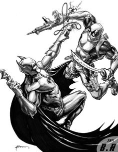 Batman x Deadpool. I bet that Deadpool would take many blows, the win by fatigue and by his sarcastic jokes