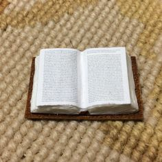 """Pat Tyler Handcrafted Open Book is made of resin and paper, with Genuine Leather back. It measures approximately 5/8"""" Wide, 1 1/4"""" Long 1/8"""" Deep. Scale: 1 inch equals 1 foot"""