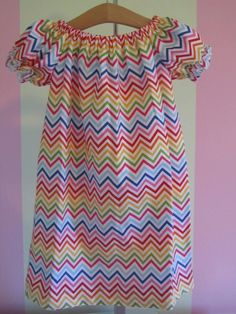 Rainbow Chevron Peasant Dress by PerryWinklesEmb on Etsy, $26.00