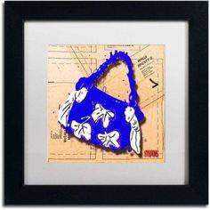 Trademark Fine Art Bow Purse White on Blue Canvas Art by Roderick Stevens, White Matte, Black Frame, Archival Paper, Size: 16 x 16