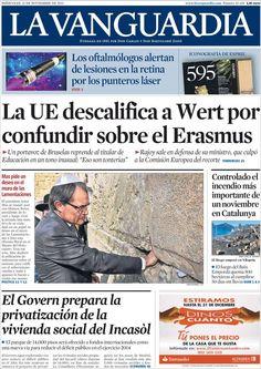 Los Titulares y Portadas de Noticias Destacadas Españolas del 13 de Noviembre de 2013 del Diario La Vanguardia ¿Que le pareció esta Portada de este Diario Español?