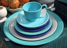 Fiestaware in blues, greens, and white.