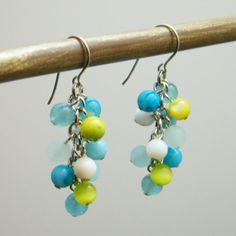 Caribbean Stone Cluster Earrings  Colorful Sky door productsof47