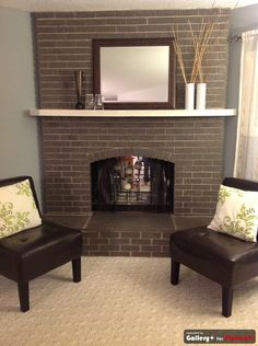 grey painted brick fireplace...like that it still looks like brick.  maybe use wall paint for creases?