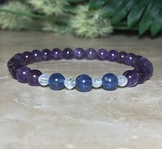 Womens 6mm Amethyst Bracelet, Kyanite Bracelet, Moonstone Bracelet, Healing Crystal, Safe Travel, Inner Peace, Serenity