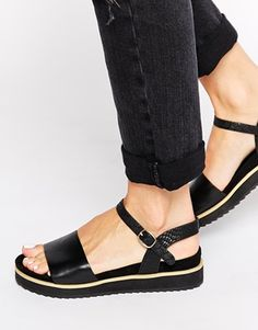 ASOS FAMOUSLY Velcro Two Part Sandals