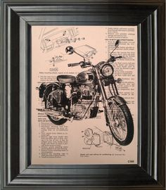 Dictionary Art Vintage Motorcycle Recycled book art print illustration motorcycle upsycle under 25 10 for him gifts boyfriend dad brother on Etsy, $9.99