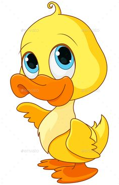 Buy Baby Duck by Dazdraperma on GraphicRiver. Illustration of baby duck smiling. Art Drawings For Kids, Drawing For Kids, Easy Drawings, Animal Drawings, Art For Kids, Duck Cartoon, Cartoon Pics, Duck Drawing, Baby Animals